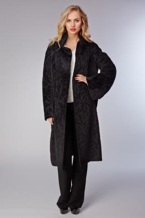 Черное женское пальто  с объемным узором по шерсти Heresis. Цвет: черный