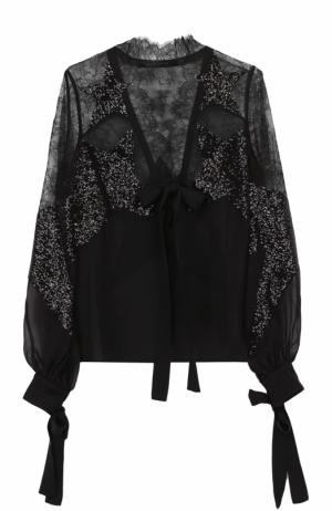 Кружевная полупрозрачная блуза с пайетками Elie Saab. Цвет: черный