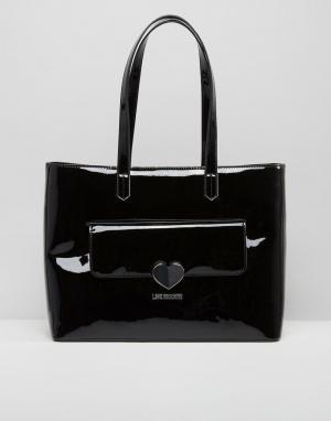 Love Moschino Лакированная большая сумка. Цвет: черный