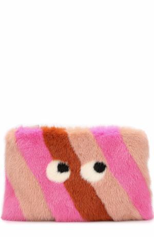 Клатч Eyes из меха норки Anya Hindmarch. Цвет: розовый
