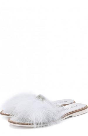 Кожаные шлепанцы с фактурной отделкой Monnalisa. Цвет: голубой