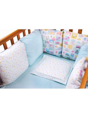 Бампер Дракончик 6 подушек DAISY. Цвет: светло-голубой, бледно-розовый, светло-желтый