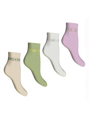 Носки 4 пары Master Socks. Цвет: бежевый, белый, оливковый, сиреневый