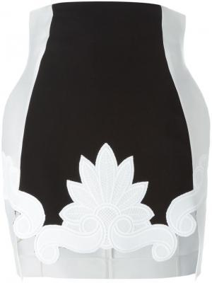 Юбка с цветочной аппликацией Antonio Berardi. Цвет: белый