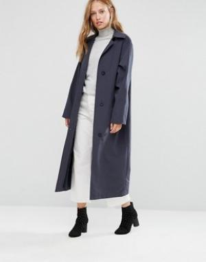Cooper & Stollbrand Темно-синее легкое пальто свободного кроя. Цвет: темно-синий