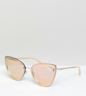 Quay Australia Солнцезащитные очки кошачий глаз цвета розового золота. Цвет: золотой