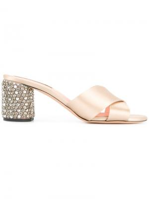 Embellished heel mules Rochas. Цвет: металлический