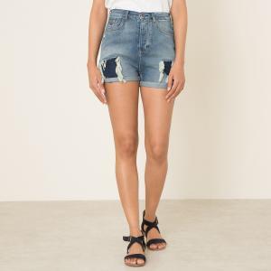 Шорты джинсовые с эффектом потертости MAISON SCOTCH. Цвет: синий деним