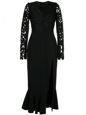 Платье миди с кружевной вышивкой David Koma. Цвет: чёрный