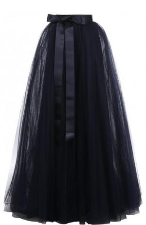 Пышная юбка-макси с широким поясом-лентой Jenny Packham. Цвет: темно-синий