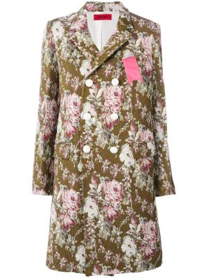 Двубортное пальто с цветочным узором The Gigi. Цвет: многоцветный
