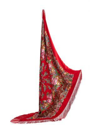 Платок с павлопосадским узором и длинной бахромой, 131 x cm Nothing but Love. Цвет: красный, зеленый, розовый