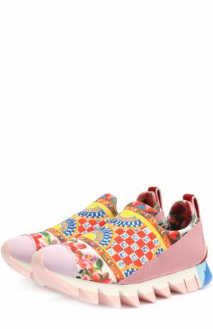 Комбинированные кроссовки Ibiza с принтом на рельефной подошве Dolce & Gabbana. Цвет: розовый