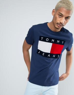 Tommy Jeans Темно-синяя футболка с логотипом из флока 90S M1. Цвет: синий