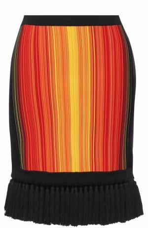 Мини-юбка с бахромой Balmain. Цвет: разноцветный
