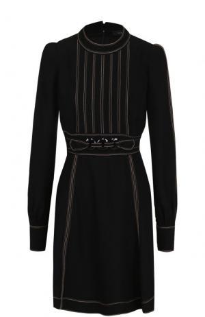 Мини-платье с поясом и рукавом-фонарик Marc Jacobs. Цвет: черный