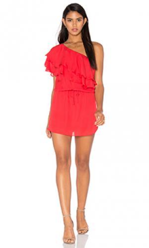 Мини платье one shoulder ruffle Haute Hippie. Цвет: красный