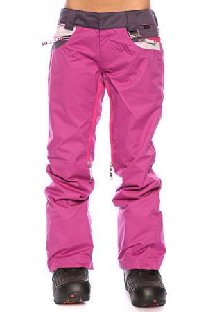 Штаны сноубордические женские  New Karing Pant Lavender/Purple Stripe/Purple Oakley. Цвет: розовый