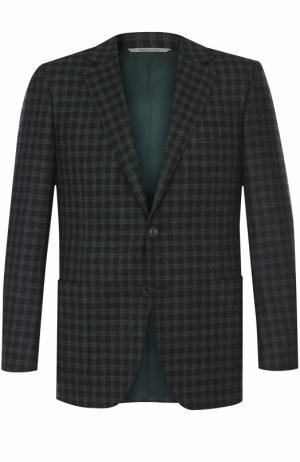 Шерстяной однобортный пиджак в клетку Canali. Цвет: темно-зеленый