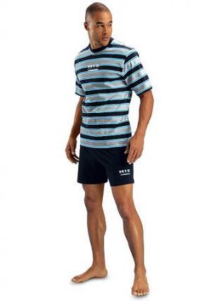 Пижама, , короткий покрой H.I.S. Цвет: синий морской с серым