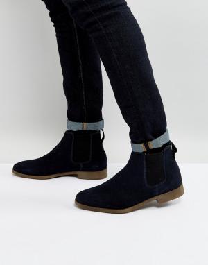 KG Kurt Geiger Темно-синие замшевые ботинки челси By Guildford. Цвет: синий