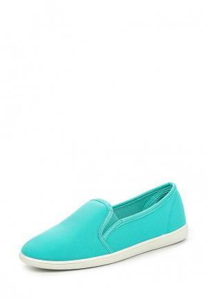 Слипоны Ideal Shoes. Цвет: бирюзовый