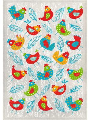 Полотенца Петушки и перышки, 2 шт., с петелькой GrandStyle. Цвет: зеленый, голубой, красный, желтый