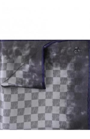 Шелковый платок в клетку Canali. Цвет: серый