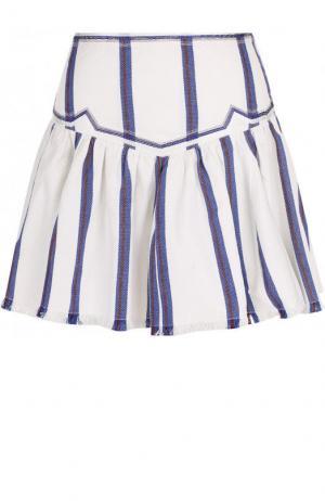 Хлопковая мини-юбка в полоску Isabel Marant Etoile. Цвет: белый