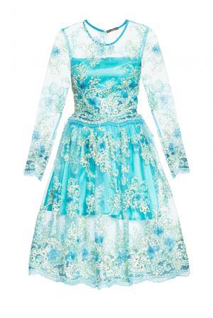 Платье из вискозы с искусственным шелком 164161 Msw Atelier. Цвет: синий