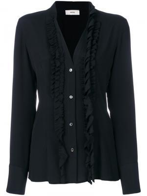 Блузка с рюшами Mauro Grifoni. Цвет: чёрный