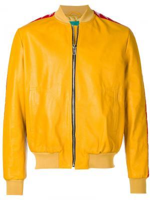 Куртка с контрастными полосками Paura. Цвет: жёлтый и оранжевый