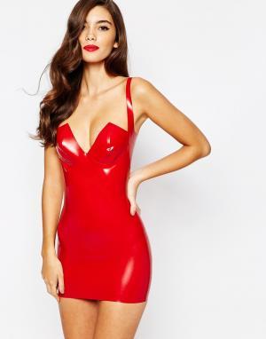 House of Harlot Платье-сорочка из латекса Dahlia. Цвет: красный