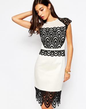 Little Black Dress Платье с кружевной отделкой Natalie. Цвет: черно-белый