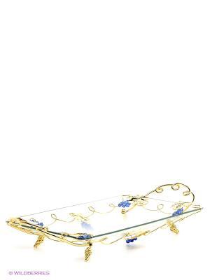 3087-MR (6)  Ваза универсальная (54,5х27х9,5 см) Marquis. Цвет: прозрачный, золотистый, синий
