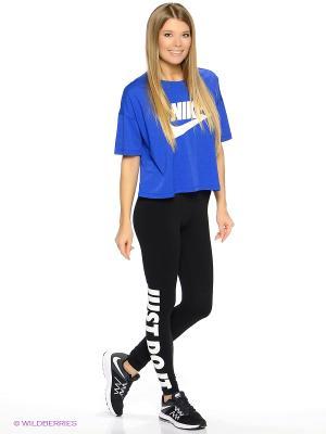 Футболка W NSW SIGNAL TOP CROP Nike. Цвет: белый, синий