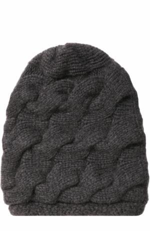 Кашемировая шапка фактурной вязки с помпоном из меха песца TSUM Collection. Цвет: темно-серый