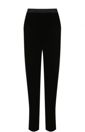 Укороченные бархатные брюки с карманами Oscar de la Renta. Цвет: черный