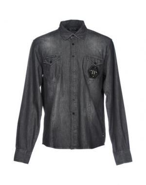 Джинсовая рубашка PHILIPP PLEIN. Цвет: свинцово-серый