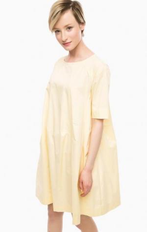 Желтое платье из хлопка расклешенного силуэта THINK CHIC. Цвет: желтый