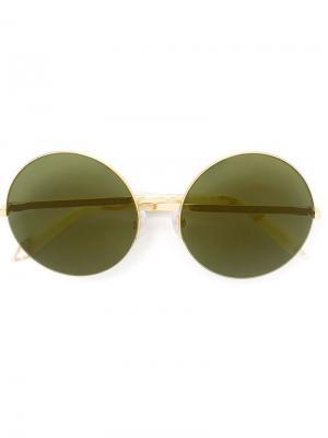 Солнцезащитные очки в круглой оправе Victoria Beckham. Цвет: металлический