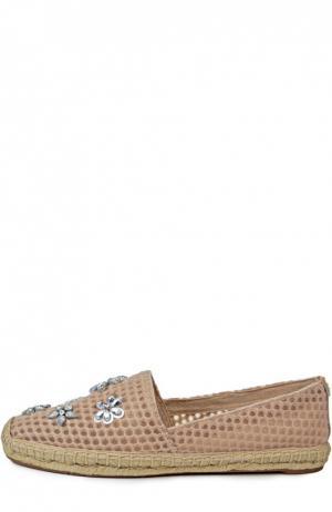 Текстильные эспадрильи с декором Tory Burch. Цвет: розовый