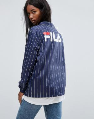 Fila Свободная спортивная куртка в полоску с логотипом на спине. Цвет: темно-синий