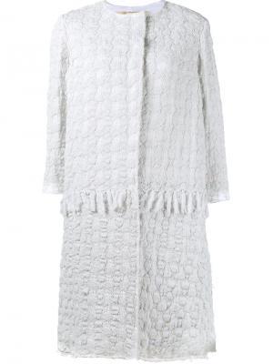 Ажурное пальто By Walid. Цвет: белый