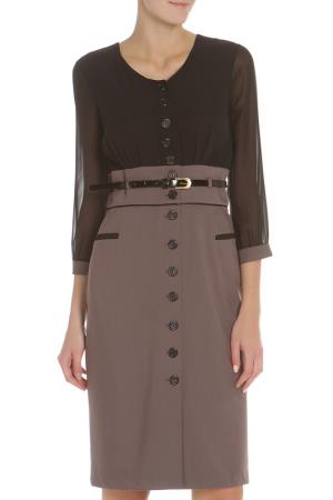 Платье с рукавами на манжете Evita. Цвет: black-grey, черный-серый