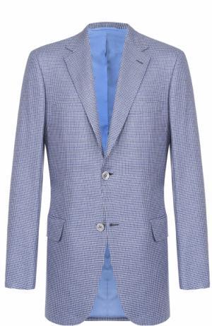 Однобортный пиджак в клетку из смеси шерсти и шелка Brioni. Цвет: голубой