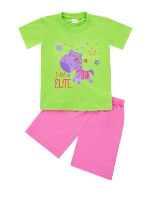 Комплект: футболка, шорты Sladikmladik. Цвет: салатовый, розовый