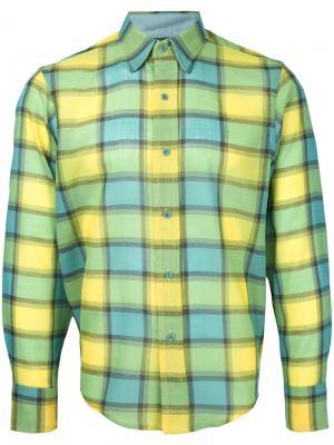 Рубашка в клетку с длинными рукавами Facetasm. Цвет: жёлтый и оранжевый