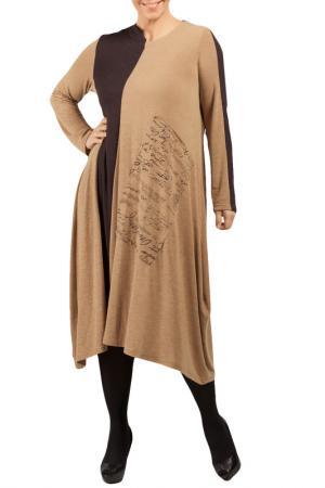 Платье Zedd Plus. Цвет: light brown, black