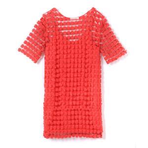 Платье с короткими рукавами и вышивкой SEE U SOON. Цвет: белый,оранжевый/ коралловый